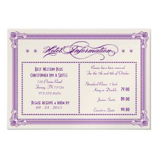Metallic Purple & Gold Hotel Information Card