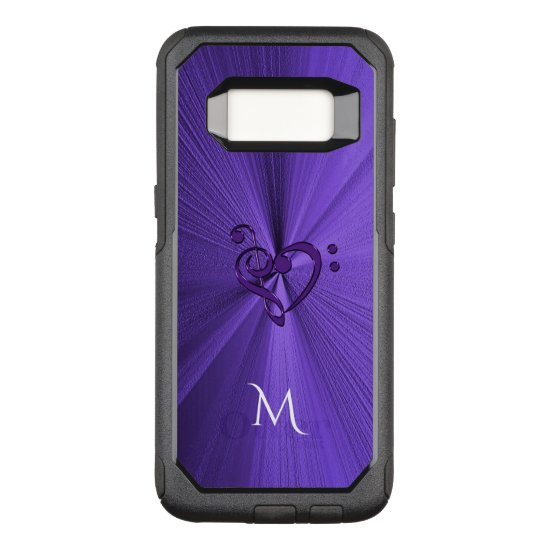 Metallic Purple Music Heart Galaxy S8 Case