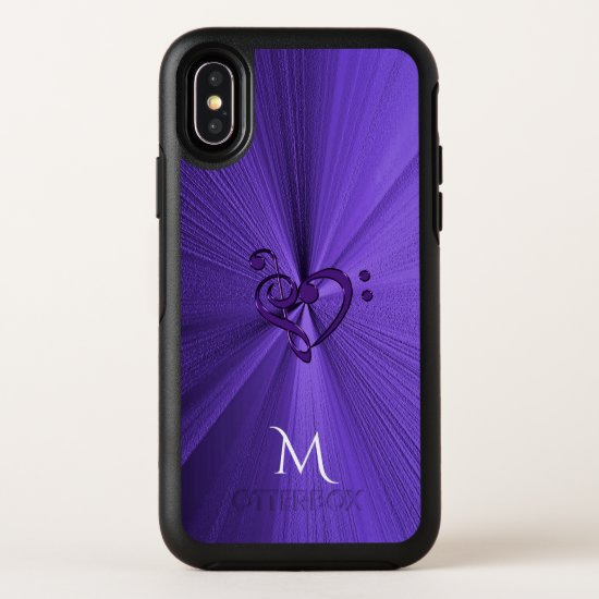 Metallic Purple Music Heart OtterBox Symmetry iPhone X Case