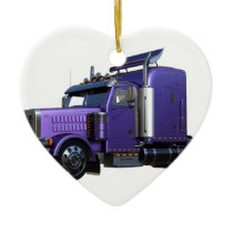 Metallic Purple Semi Tractor Trailer Truck Ceramic Ornament