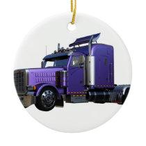 Metallic Purple Semi Tractor Trailer Truck Ceramic Ornament