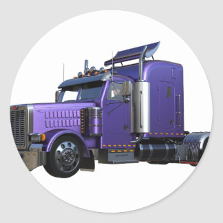 Metallic Purple Semi Tractor Trailer Truck Classic Round Sticker