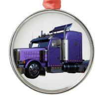Metallic Purple Semi Tractor Trailer Truck Metal Ornament