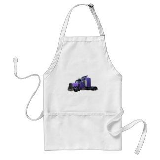 Metallic Purple Semi Truck In Three Quarter View Adult Apron