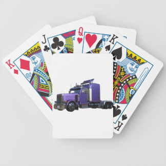 Metallic Purple Semi Truck In Three Quarter View Bicycle Playing Cards