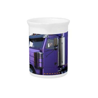 Metallic Purple Semi Truck In Three Quarter View Drink Pitcher