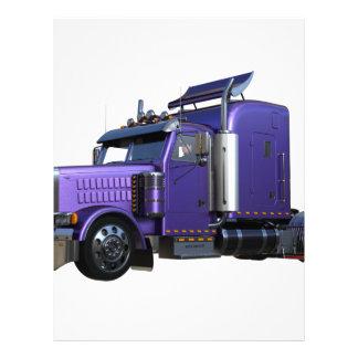 Metallic Purple Semi Truck In Three Quarter View Letterhead