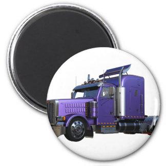 Metallic Purple Semi Truck In Three Quarter View Magnet