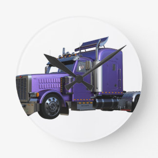 Metallic Purple Semi Truck In Three Quarter View Round Clock