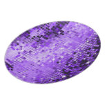 Metallic Purple Sequins Look-Disco Ball Pattern Party Plate
