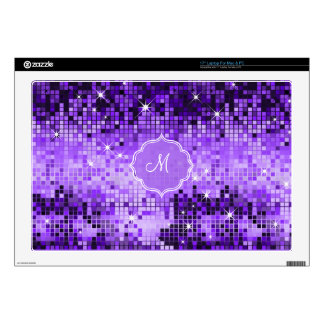 "Metallic Purple Sequins Look Disco Mirror-Monogram 17"" Laptop Skins"