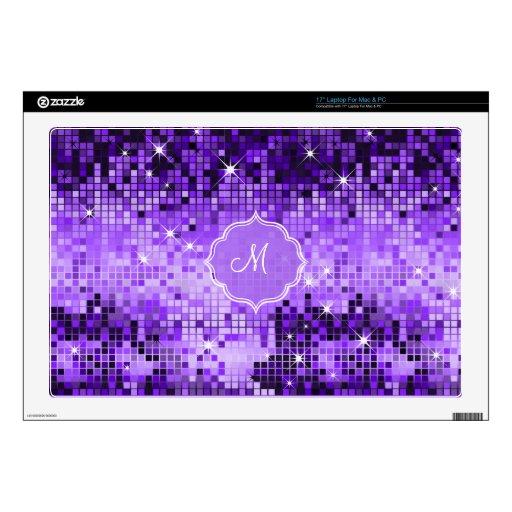 """Metallic Purple Sequins Look Disco Mirror-Monogram 17"""" Laptop Decal"""