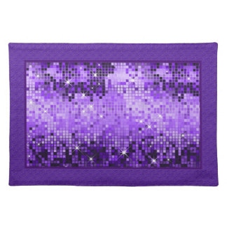 Metallic Purple Sequins Look Disco Mirrors Bling Placemats