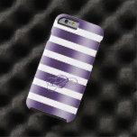 Metallic Purple Stripes WhiteBackground Tough iPhone 6 Case