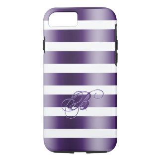 Metallic Purple Stripes WhiteBackground iPhone 7 Case