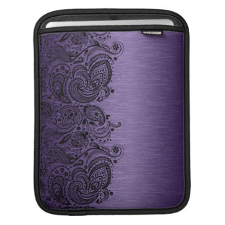 Metallic Purple With Black Paisley Lace Sleeve For iPads
