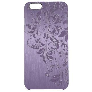 Metallic Purple With Purple Swirls Clear iPhone 6 Plus Case