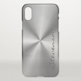 Metallic Radial Stainless Steel Look Personalized iPhone X Case