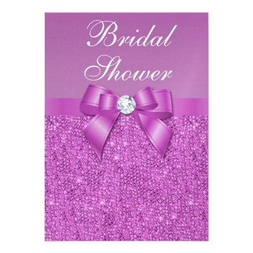Metallic Radiant Orchid Sequins Bow Bridal Shower Card