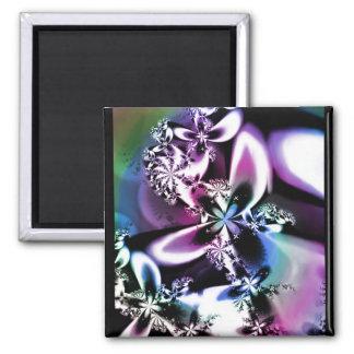 Metallic Rainbow Bloom 2 Inch Square Magnet