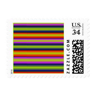 Metallic Rainbow Multicolor Stripes Postage