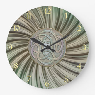 Metallic Rays Celtic Knot Metal Look Clock