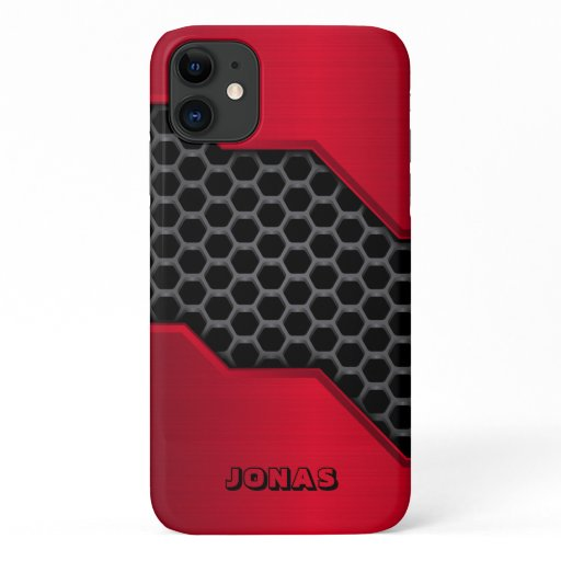 Metallic Red And Gray Honeycomb iPhone 11 Case
