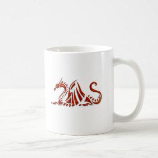 Metallic Red Beveled Dragon Classic White Coffee Mug