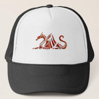 Metallic Red Beveled Dragon Trucker Hat