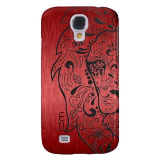 Metallic Red & Black Lion Sugar Skull Galaxy S4 Cover