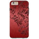 Metallic Red Brushed Aluminum & Dark Red Lace Tough iPhone 6 Plus Case