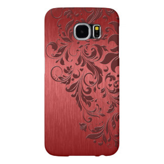 Metallic Red Brushed Aluminum & Dark Red Lace Samsung Galaxy S6 Case