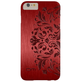 Metallic Red Brushed Aluminum & Floral Lace Barely There iPhone 6 Plus Case