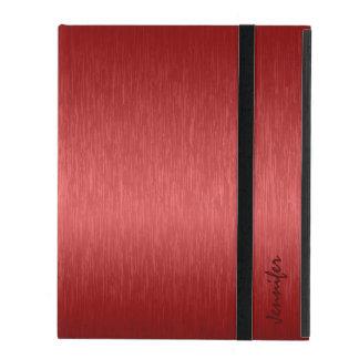 Metallic Red Brushed Aluminum Look iPad Folio Case