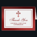 """Metallic Red Cross Holy Communion Or Confirmation Card<br><div class=""""desc"""">These thank you cards can be customized for any holy event including Confirmations, Christenings, Communions, Baptisms and much more. Add your custom wording by using the &quot;Edit this design template&quot; section or click the &quot;Customize&quot; button to change the font style and color, or to add a photo or extra wording...</div>"""