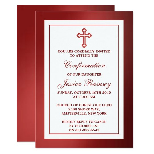 Metallic Red Cross Holy Communion Or Confirmation Invitation