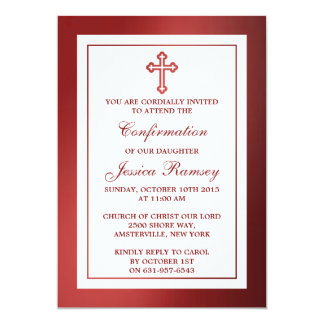 Metallic Red Cross Holy Communion Or Confirmation 5x7 Paper Invitation Card