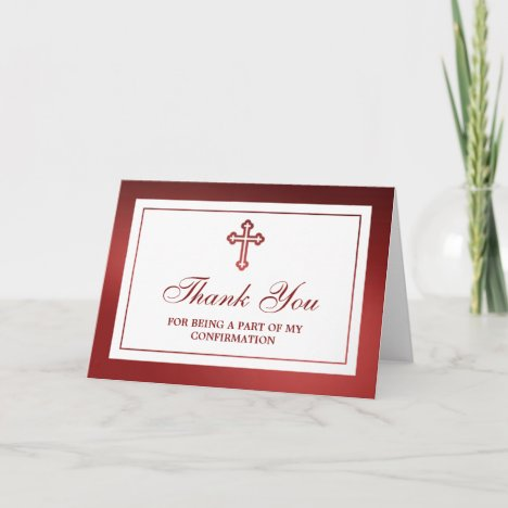 Metallic Red Cross Holy Communion Or Confirmation Thank You Card