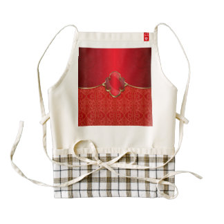 Metallic red,gold,chic,elegant,beautiful,template, zazzle HEART apron