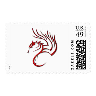 Metallic Red Hammered Dragon Postage