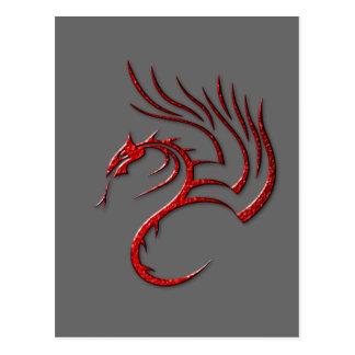 Metallic Red Hammered Dragon Postcard