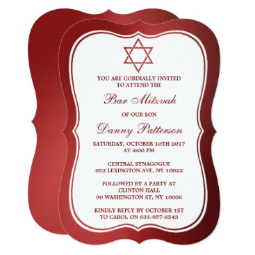 Beach Themed Metallic Red Jewish Star Of David Bar Mitzvah Card