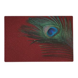 Metallic Red Peacock Placemat