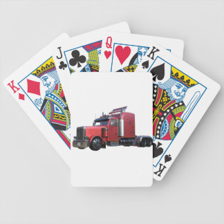 Metallic Red Semi Tractor Traler Truck Bicycle Playing Cards