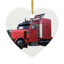 Metallic Red Semi Tractor Traler Truck Ceramic Ornament