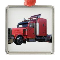 Metallic Red Semi Tractor Traler Truck Metal Ornament