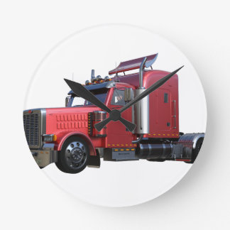 Metallic Red Semi Tractor Traler Truck Round Clock