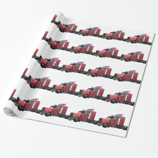 Metallic Red Semi Tractor Traler Truck Wrapping Paper