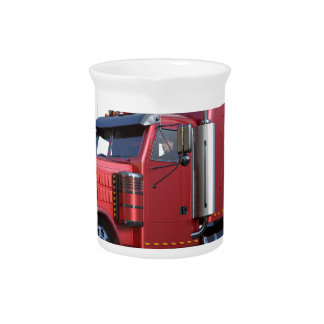 Metallic Red Semi TruckIn Three Quarter View Beverage Pitcher