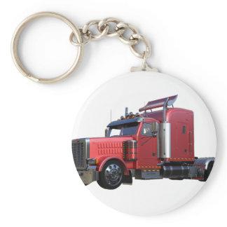 Metallic Red Semi TruckIn Three Quarter View Keychain
